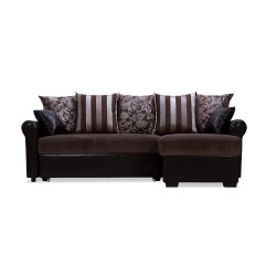 The compact sofa is distinguished by a low-key design